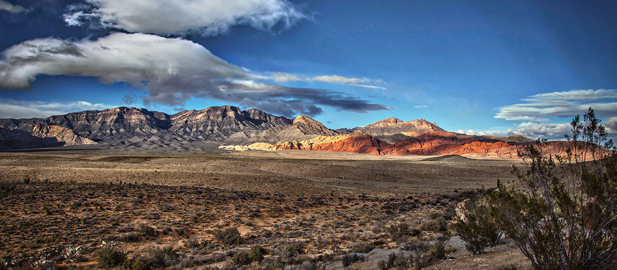 Scenic photo of Red Rock Canyon desert landscape. Photograph by Ed Foster.